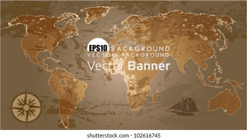 Grunge, rustic world map. This illustration is an EPS10 file and contains several transparencies blend with its easily editable in separate layers. Vector illustration scale to any size.