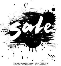 Grunge sale, vector calligraphy word on grunge style black background, isolated illustration