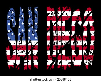 grunge San Diego text with American flag illustration