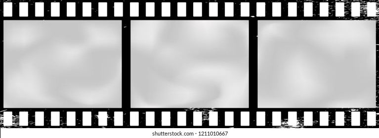 Grunge scratched stained old film strip, background. Vector illustration