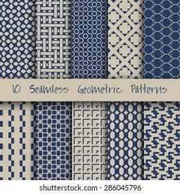 Grunge Seamless Geometric Patterns Set. Vector illustration