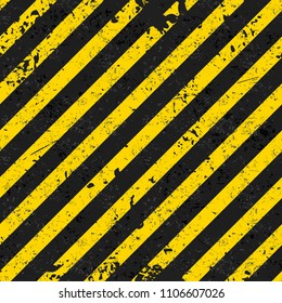 "Grunge seamless pattern with black and yellow diagonal lines. Vector background in ""Warning"" colors for your projects. Fully editable file."