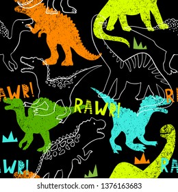Grunge seamless pattern with dinosaur on dark background. Print for boys