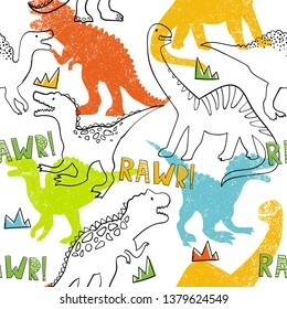 Grunge seamless pattern with dinosaur on white background. Print for boys