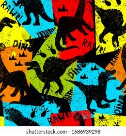 Grunge seamless pattern with dinosaur on dark background. Print for boys