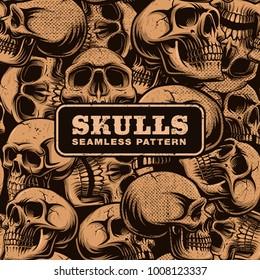 Grunge seamless pattern with skulls. Vector illustration