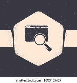 Grunge Search in a browser window icon isolated on grey background. Monochrome vintage drawing. Vector Illustration