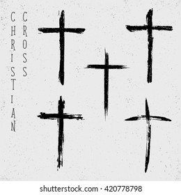 Grunge set of christian crosses, vector