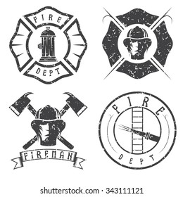 grunge set of fire department emblems and badges