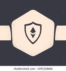 Grunge Shield Ethereum ETH icon isolated on grey background. Cryptocurrency mining, blockchain technology, security, protect, digital money. Monochrome vintage drawing. Vector Illustration