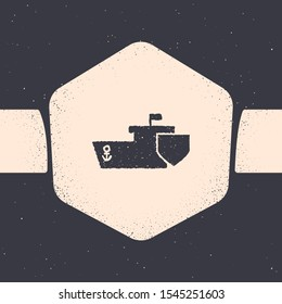 Grunge Ship with shield icon isolated on grey background. Insurance concept. Security, safety, protection, protect concept. Monochrome vintage drawing. Vector Illustration