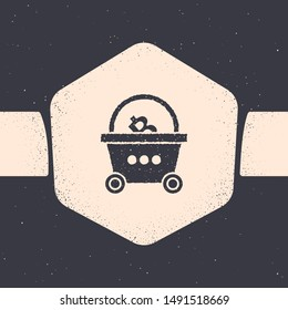 Grunge Shopping basket with bitcoin icon isolated on grey background. Blockchain technology, cryptocurrency mining, digital money market. Monochrome vintage drawing. Vector Illustration