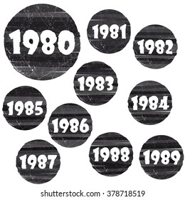 Grunge signs with different year of birth. Design elements for the press on clothes or for use in other projects.