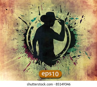 grunge silhouette of a cool cowboy, vector illustration