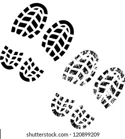 Grunge silhouette of shoe print on white background