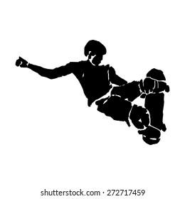 grunge silhouette skateboarder man , jumps on skateboard, white background