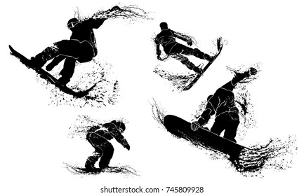 Grunge silhouettes of snowboarders dancing in the air. Collection silhouettes of jumping snowboarders in vector with grunge style and effects.