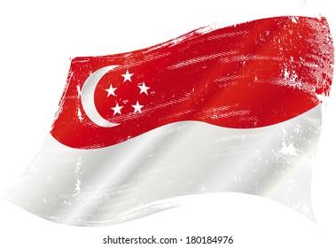 A grunge Singaporean flag for you