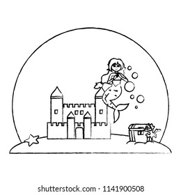 grunge siren woman under water with castle and coffer