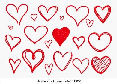 Grunge Sketch Handmade Doodle Vector Heart Set