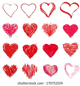 Grunge sketch hearts set