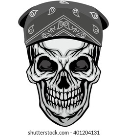 grunge skull in bandana coat of arms