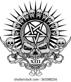 grunge skull coat of arms,  pentagram