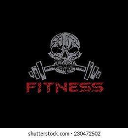 grunge skull holding a barbell in the teeth