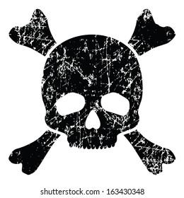 Grunge skull isolated on white (vector illustration)