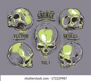 Grunge skulls vector set. Hand-drawn skulls. Vector illustration.