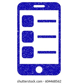 Grunge Smartphone List rubber seal stamp watermark. Icon symbol with grunge design and scratched texture. Unclean vector blue emblem.