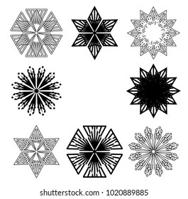 Grunge snowflake . Vector illustration . Isolated black flake . Design element