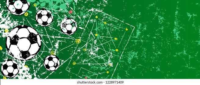 grunge soccer. football design template, vector with free copy space