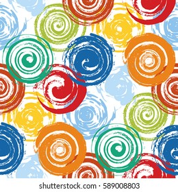 Grunge Spiral And round stamp seamless texture. Distress bright colorful brush painted circles endless pattern background. Urban grafiti template. EPS10 vector.