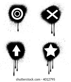 Grunge spray paint symbols