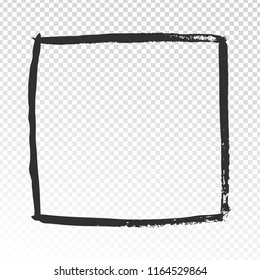 Grunge square frame. Black brush strokes cadre, watercolor paint brushes label design or doodle squared shape hand drawn scribble rectangular photo frames vector template