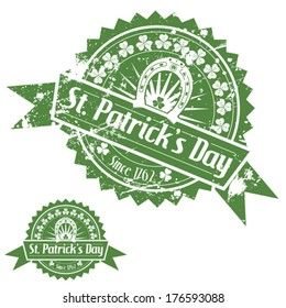 Grunge St. Patrick's Day Stamps with Clover and Horseshoe, vector isolated on white background