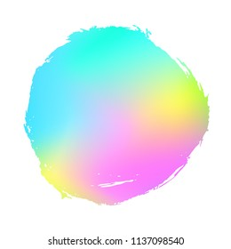 Grunge stain. Holographic. Rainbow colors. Ink splash. Isolated backdrop for text or logo. Liquid stain. Watercolor paint stroke. Holography. Place for text. Design element.