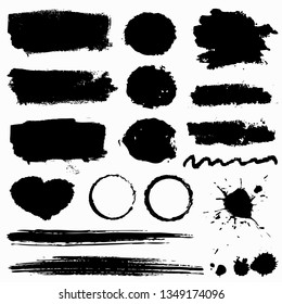 Grunge stains, paint brush strokes and ink blots isolated on white background. Black vector design elements for paintbrush texture, frame, background, banner or text box. Freehand drawing collection.