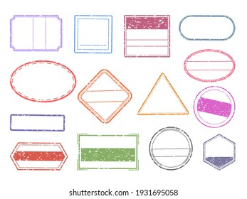 Grunge stamp. Blank geometric stamps. Ink imprints set with copy space. Round, square or triangular impress of rubber signs. Empty contour seals and labels mockup for branding. Vector colorful frames