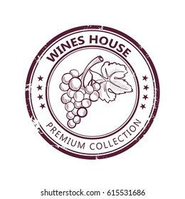 Grunge stamp with fine wine collection