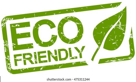 grunge stamp with frame colored green and text ECO friendly