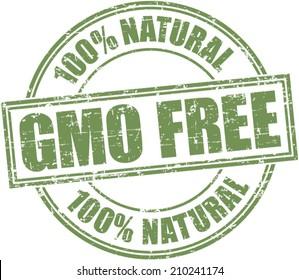 Grunge stamp 'gmo free-100% natural'