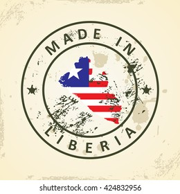 Grunge stamp with map flag of Liberia - vector illustration