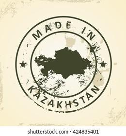 Grunge stamp with map of Kazakhstan - vector illustration