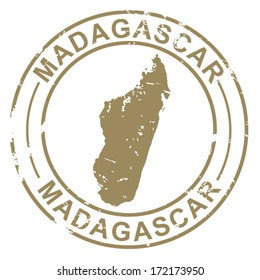 Grunge Stamp with Map of Madagascar