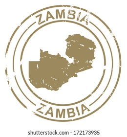 Grunge Stamp with Map of Zambia