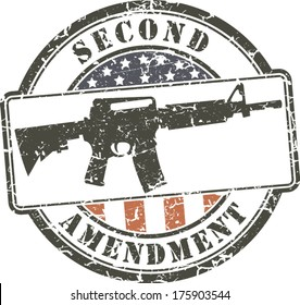 Grunge stamp Second amendment; assault rifle ar-15