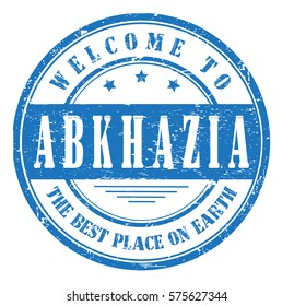"""grunge stamp """"welcome to Abkhazia, the best place on Earth """""""