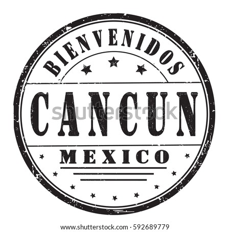 Grunge Stamp Welcome Cancun Mexico Spanish Stock Vector Royalty